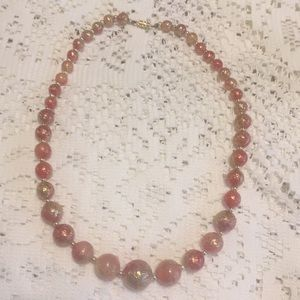 Jewelry - Vintage red and gold glittery beed necklace